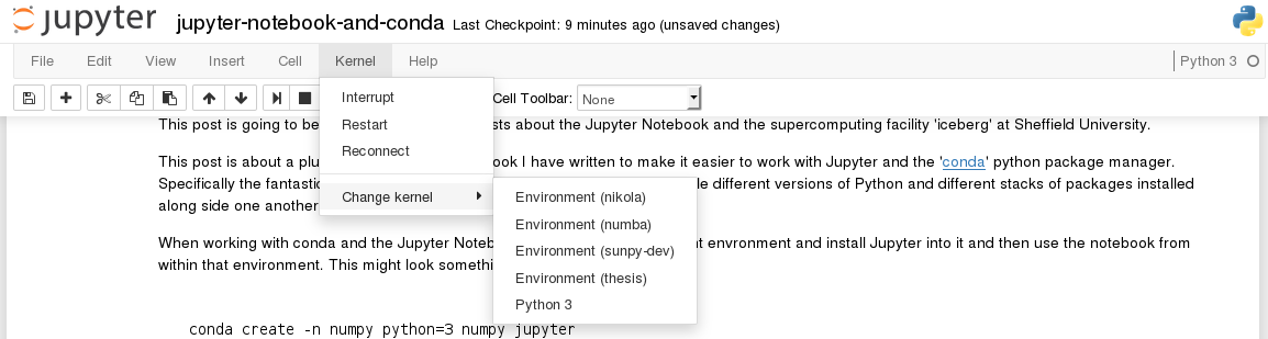 Jupyter Notebook Switch Running Kernel